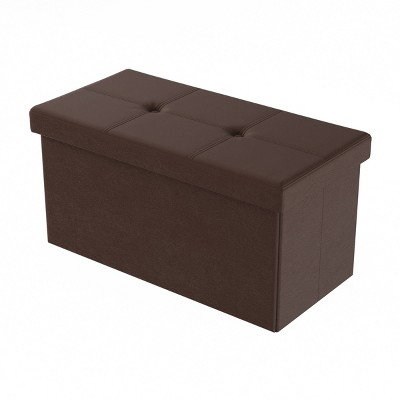 Large Foldable Storage Bench Ottoman Faux Leather Brown - Yorkshire Home