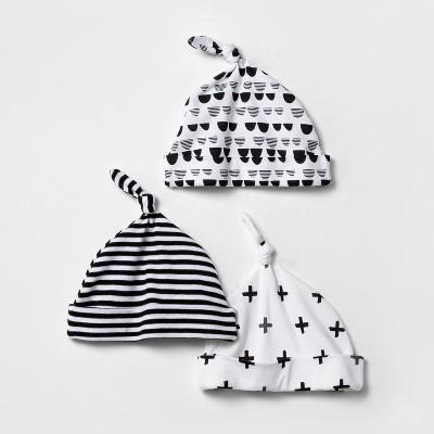 Baby 3pk Hat Set Cloud Island™ - Black/White