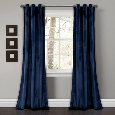 "Set of 2 84""x38"" Prima Velvet Room Darkening Window Curtain Panels Navy - Lush Décor"