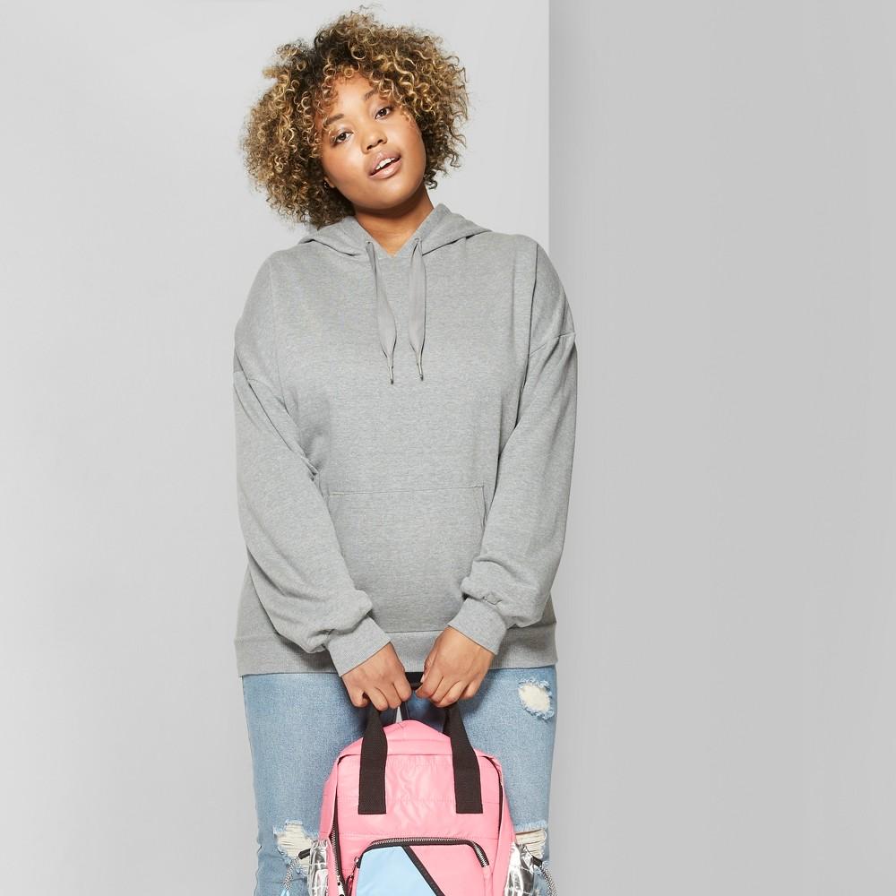 Women's Plus Size Oversized Hoodie - Wild Fable Heather Gray 3X