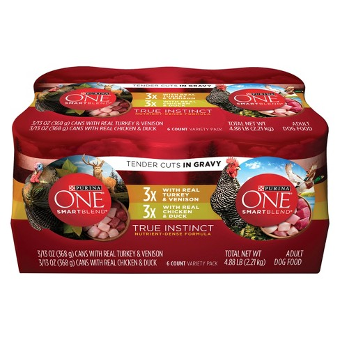 Purina® ONE SmartBlend True Instinct Tender Cuts in Gravy Variety Pack Wet Dog Food - 13oz. cans / 6ct - image 1 of 3