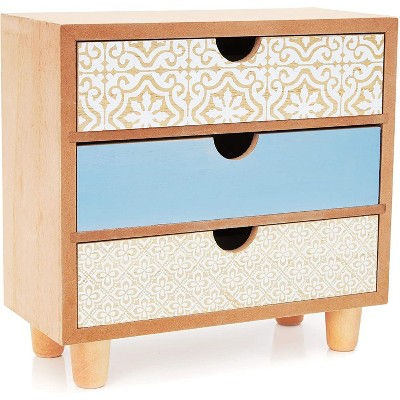 """Wooden Jewelry Storage Box Drawer Organizer Container for Ring Earring Necklace Bracelet, 3 Drawers 9""""x4""""x8"""""""