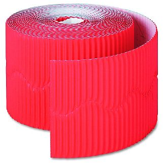 """Pacon Bordette Decorative Border, 2 1/4"""" x 50' Roll, Flame Red"""