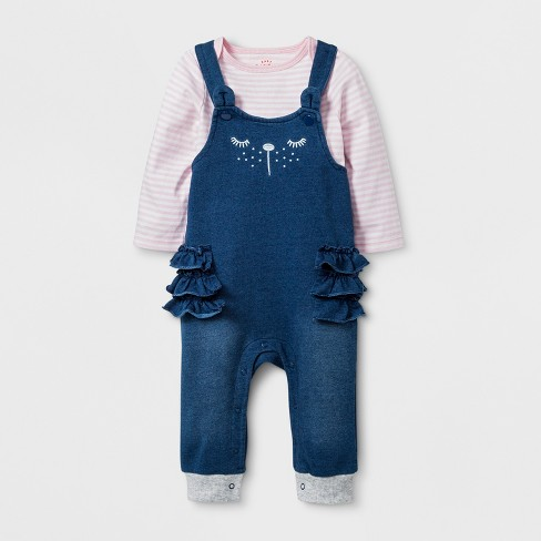 Baby Girls' 2pc Long Sleeve T-Shirt and Critter Coverall Set - Cat & Jack™ Indigo - image 1 of 2