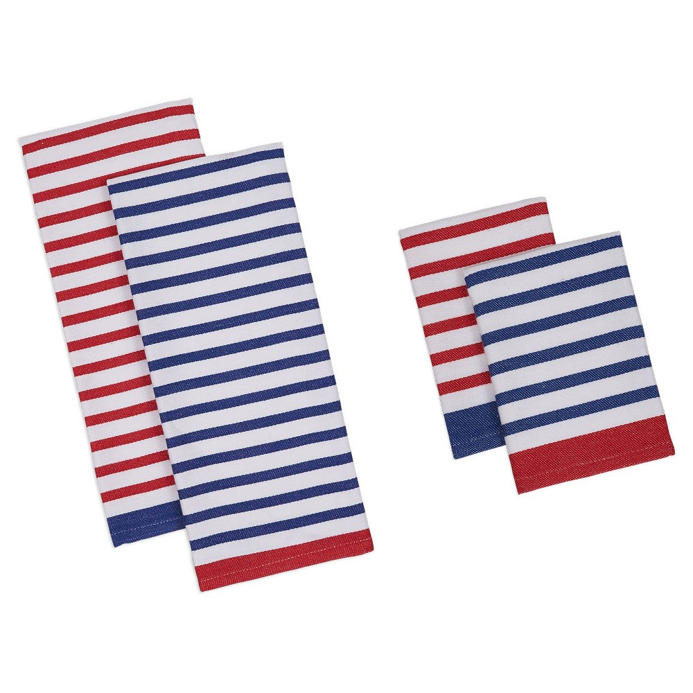 Nautical Stripe Dishtowel & Dishcloth Red & (Set Of 4) - Design Imports