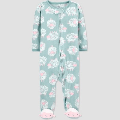 Baby Girls' Sheep Fleece Sleep N' Play - Just One You® made by carter's Green 6M