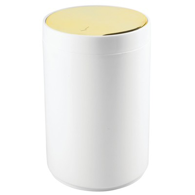 mDesign Plastic Small Round Trash Can Wastebasket, Swing Lid