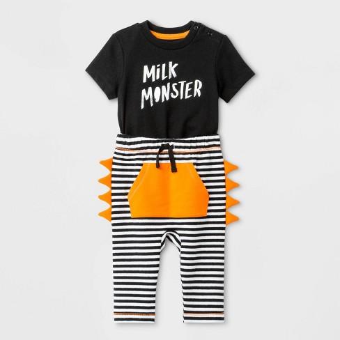 "Baby Boys' Short Sleeve ""Milk Monster"" Top And Bottom Set - Cat & Jack™ Black/White - image 1 of 2"
