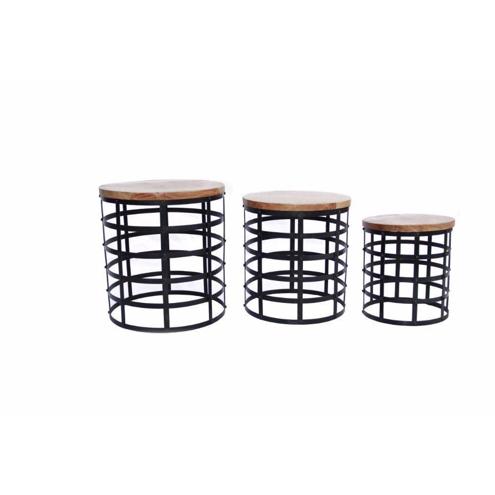 Round Nesting Coffee Tables Brown - The Urban Port