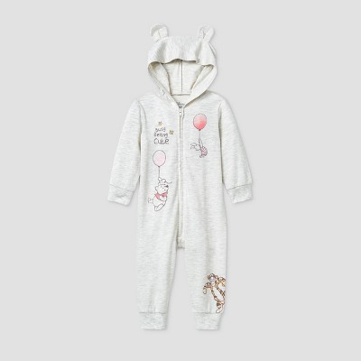 Baby Girls' Winnie The Pooh and Friends Long Sleeve Hooded Fleece Coverall - Gray Newborn