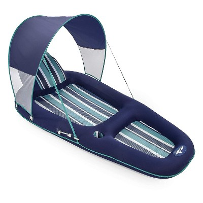 Aqua Oversized Deluxe Luxurious Inflatable Outdoor Swimming Pool Lounger Hammock Float with Sunshade Canopy, Blue