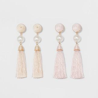 SUGARFIX by BaubleBar Embellished Tassel Earring Set - Light Pink
