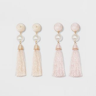 SUGARFIX by BaubleBar Embellished Tassel Earring Set - Light Pink