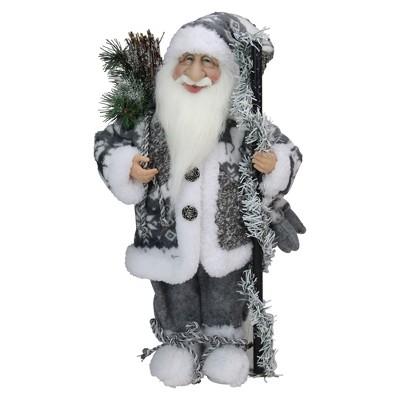 "Northlight 16"" Gray and White Standing Santa Claus Christmas Figurine"