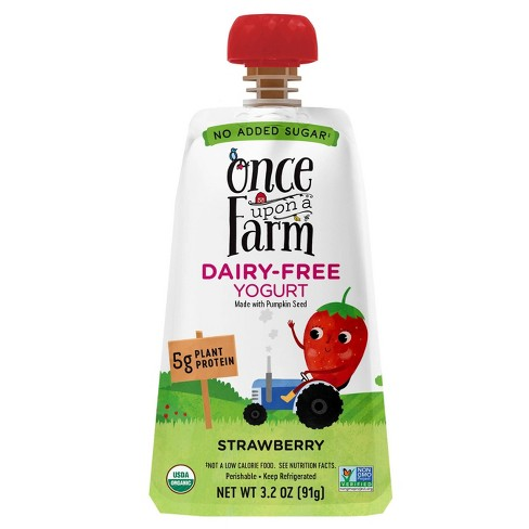 Once Upon a Farm Organic Strawberry Kids' Dairy-Free Yogurt - 3.2oz Pouch - image 1 of 4