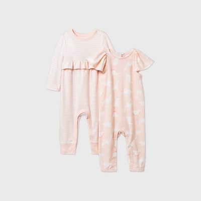 Baby Girls' Dino 2pk Striped Ruffle Romper - Cat & Jack™ Peach 3-6M