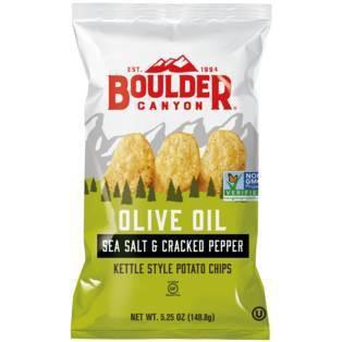 Boulder Canyon Olive Oil Sea Salt & Pepper Kettle Cooked Potato Chips - 78oz/12pk
