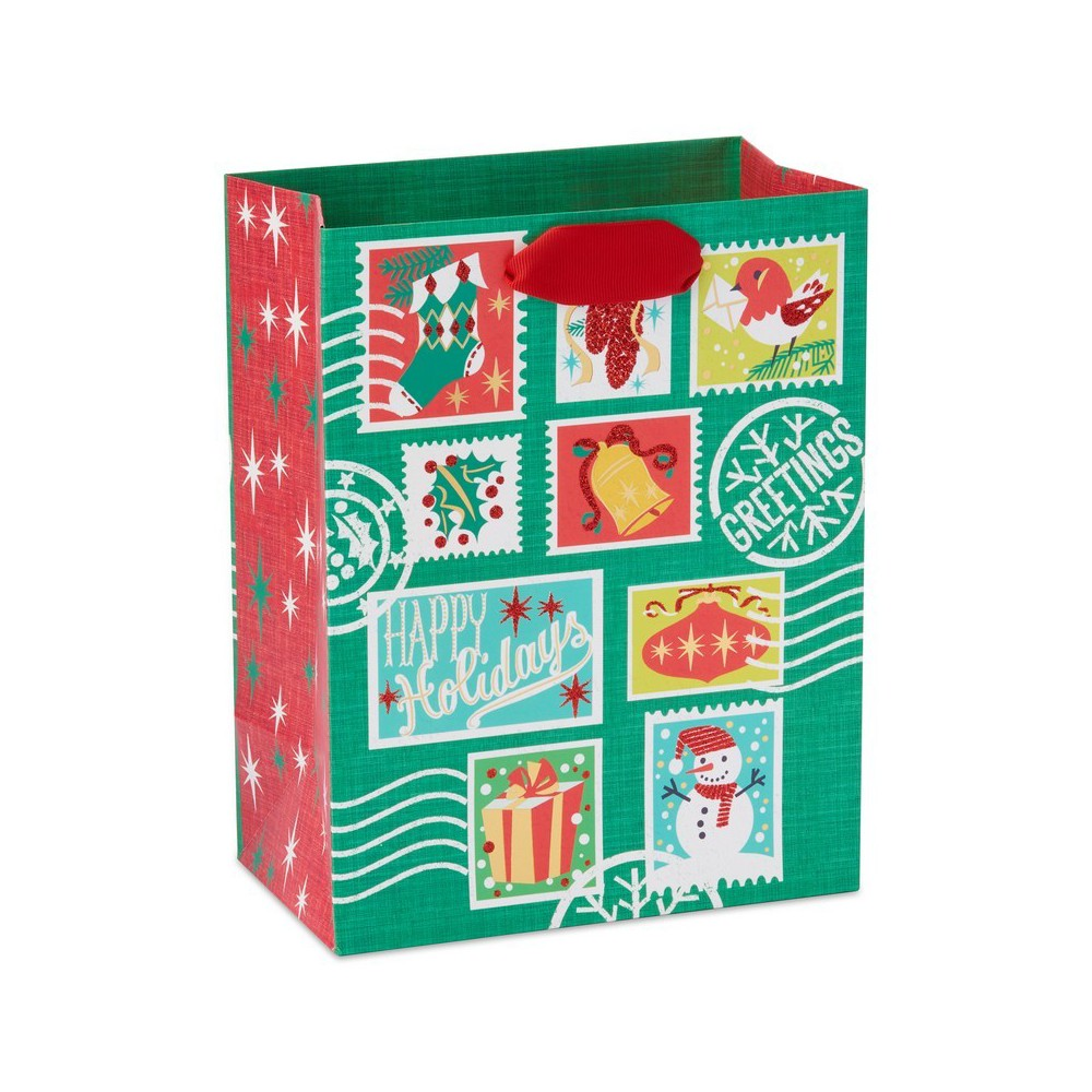 Papyrus Holiday Retro Stamps Medium Gift Bag, Multi-Colored