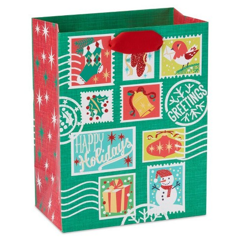 Papyrus Holiday Retro Stamps Medium Gift Bag - image 1 of 4