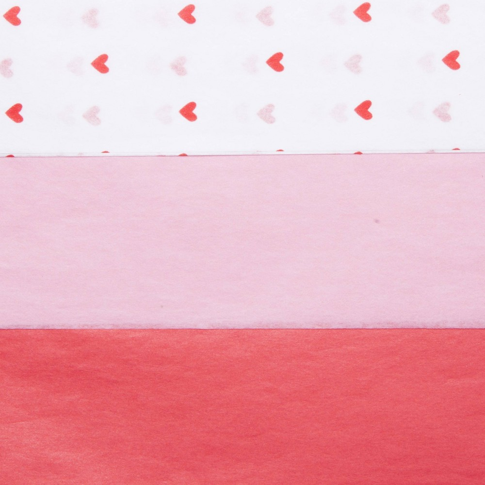 Image of 20ct Heart Printed Banded Tissue Paper Peach/Red - Spritz