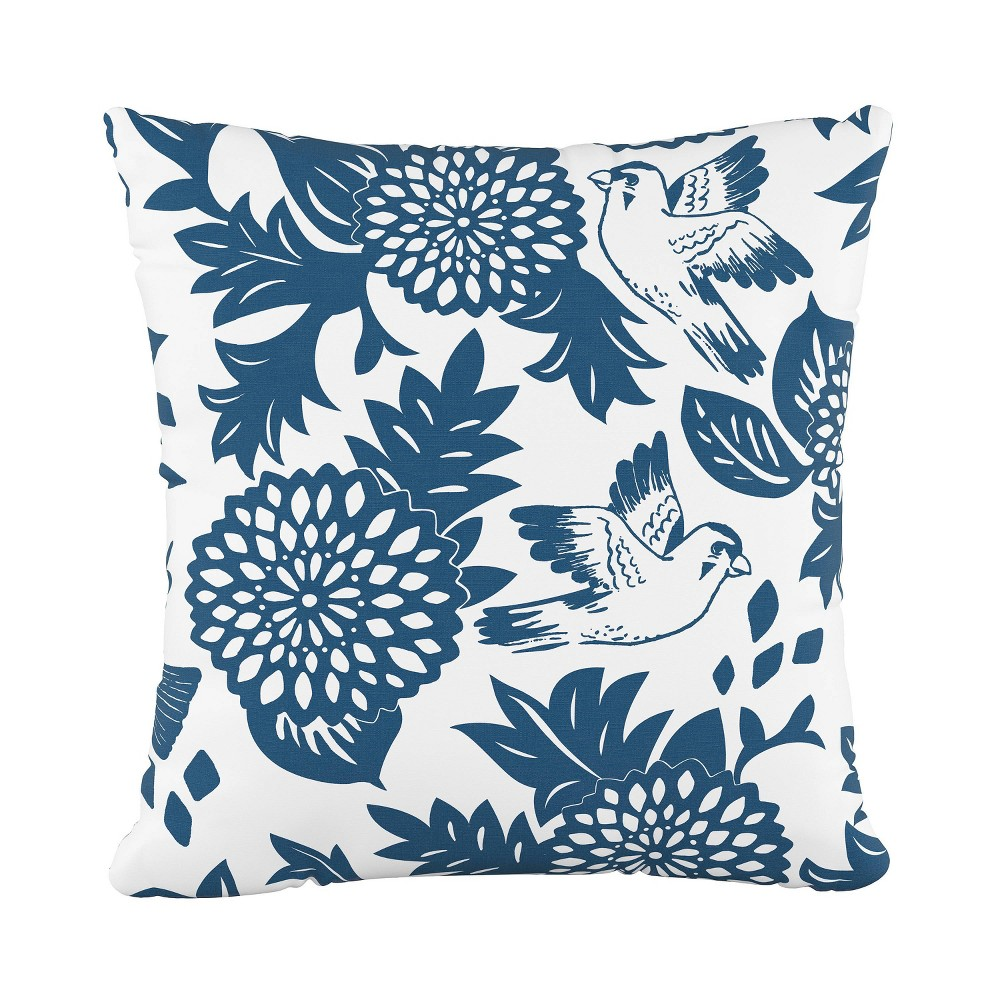 Bird Square Throw Pillow Blue - Cloth & Co.
