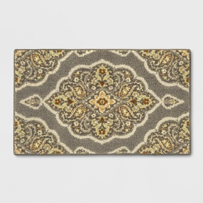 """1'8""""X2'10""""/20""""X34"""" Medallion Tufted Accent Rug Gray - Threshold™"""