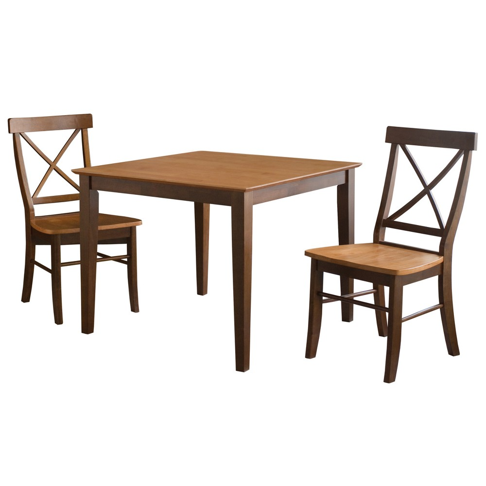 36 Set of 3 Square Dining Table with 2 X Back Chairs Cinnamon/Brown (Red/Brown) - International Concepts