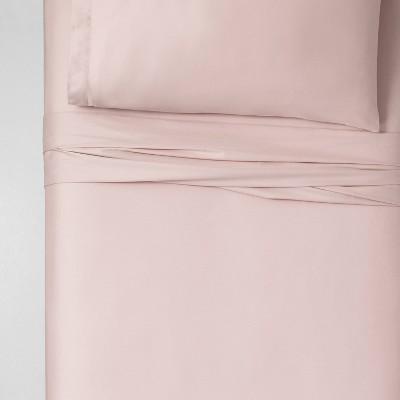 Twin XL 100% Cotton Solid Sheet Set Petal Pink Blush - Threshold™