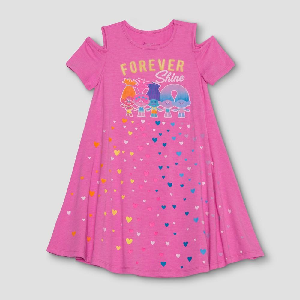 Toddler Girls' Trolls Forever Shine Cold Shoulder Dress - Pink 2T
