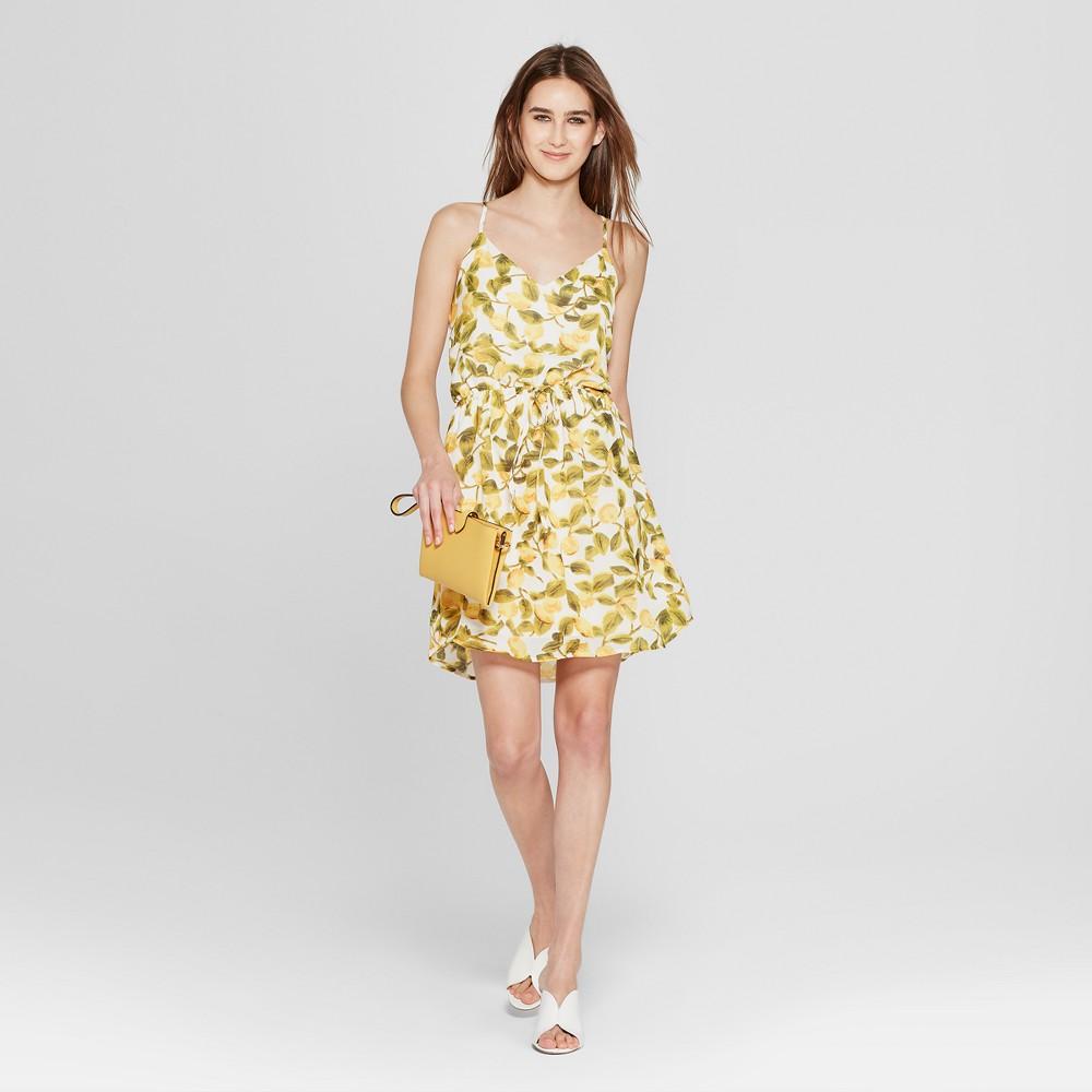 Women's Lemon Print Drawstring Waist Mini Dress - K by Kersh White/Yellow XS