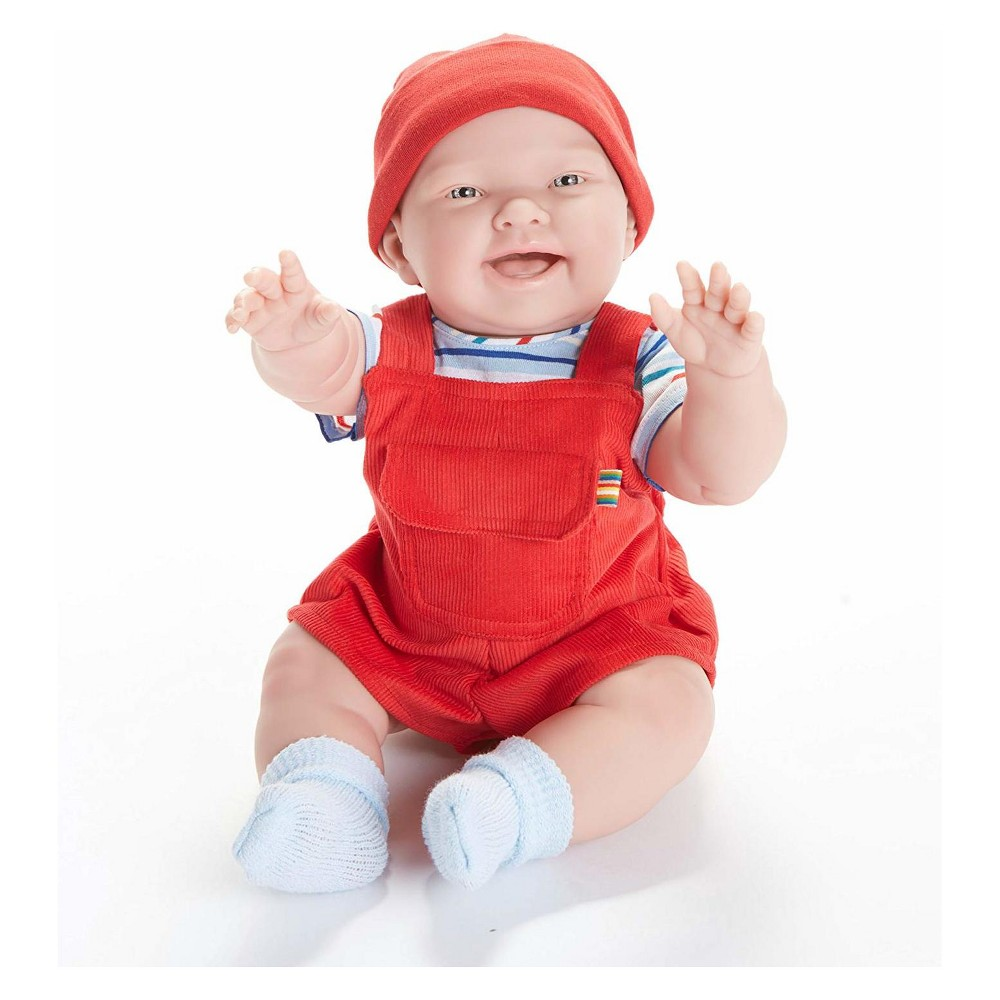 JC Toys Real Boy 18 Baby Doll - Nico - All-Vinyl - Red Overalls with a Striped Shirt JC Toys Real Boy 18 Baby Doll - Nico - All-Vinyl - Red Overalls with a Striped Shirt Gender: Unisex.