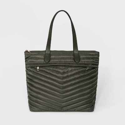 Striped Quilted Tote Handbag - A New Day™