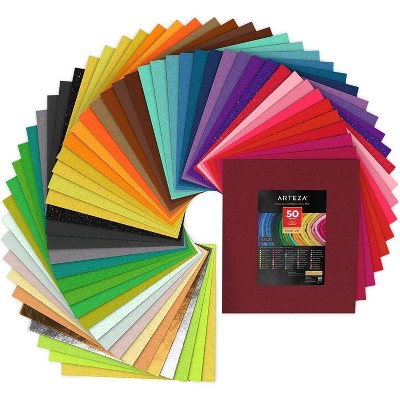 "Arteza Stiff Felt Fabric, Assorted Colors, 12"" x 14"" Sheets, Set of 50"