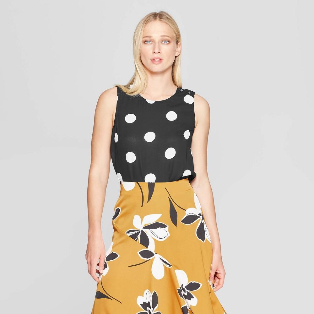 Women's Polka Dot Button Detail Sleeveless Tank Top - Who What Wear Black/White XS, Jet Black