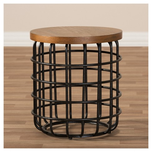Carie Rustic Style Antique Textured Finished Metal And Distressed Wood Accent Table Brown Black Baxton Studio Target