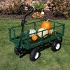 Sunnydaze Decor Steel Heavy-Duty Dumping Utility Cart with Removable Sides - Green - 660-lb Capacity - image 3 of 4