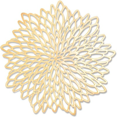"""10 Pieces 14.4"""" Gold Leaf-Shaped Vinyl Placemats, Washable Table Mats Set for Party Decorations and Catering Events"""