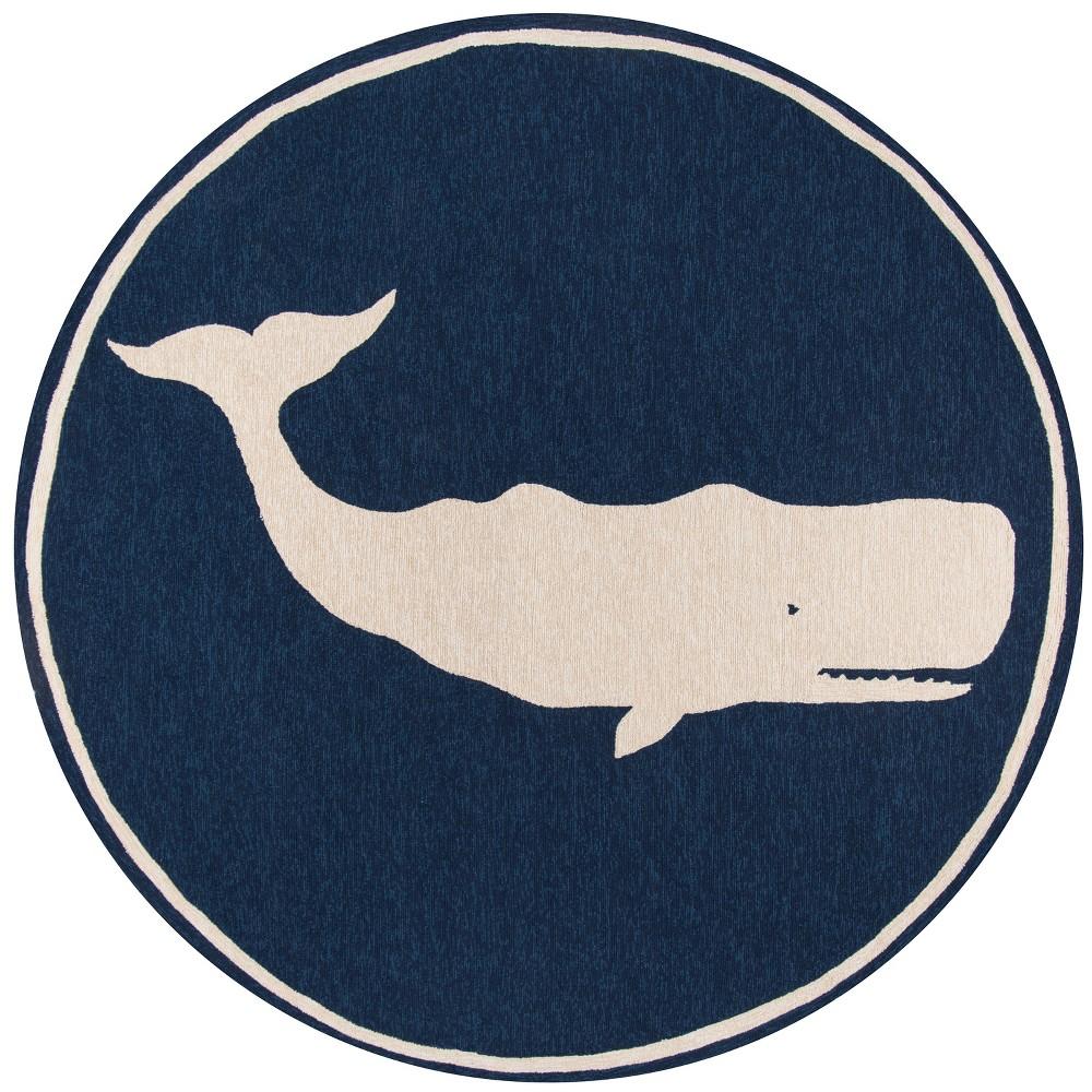 9'X9' Whale Hooked Round Area Rug Navy - Momeni, Blue