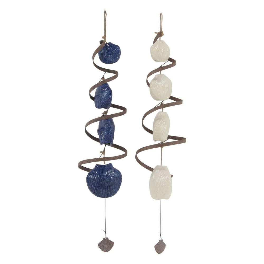 Image of 38H Porcelain Wind Chime - Brass - Olivia & May, Multi-Colored