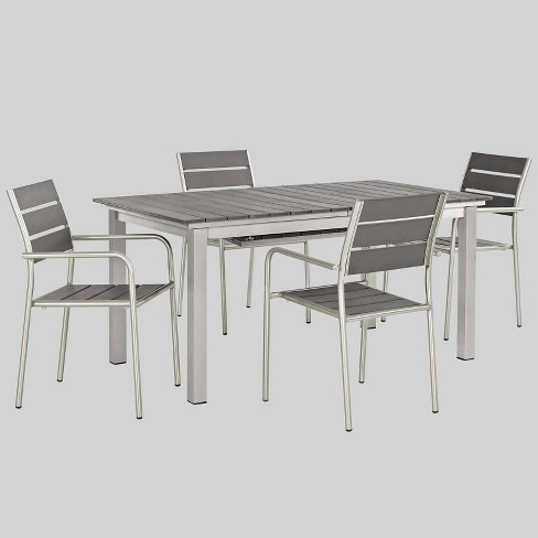 Shore 5pc Aluminum Patio Dining Set Gray - Modway - image 1 of 1