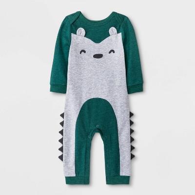 Baby Boys' Raccoon Romper - Cat & Jack™ Green/Gray 6-9M