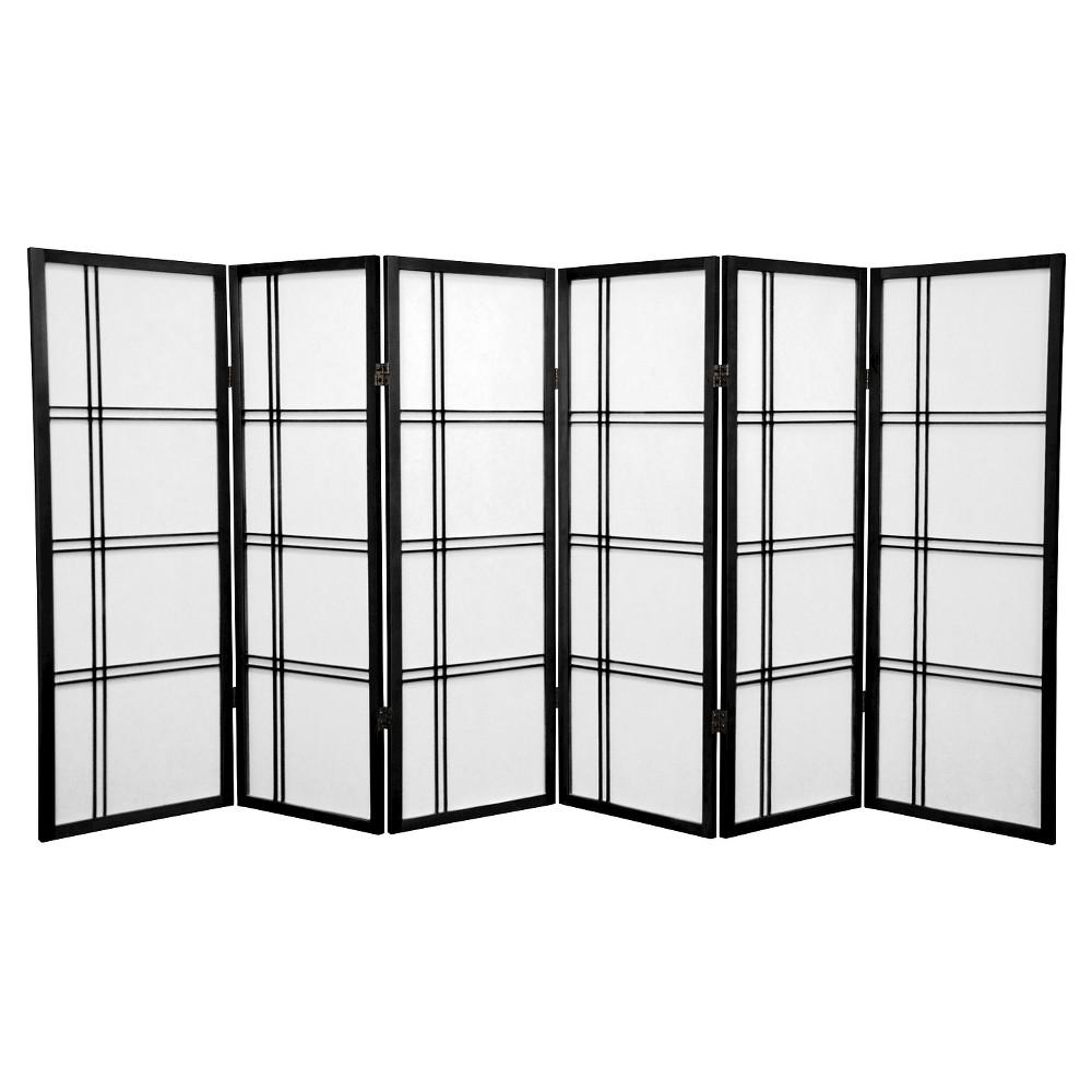 Image of 4 ft. Tall Double Cross Shoji Screen - Black (6 Panels) - Oriental Furniture