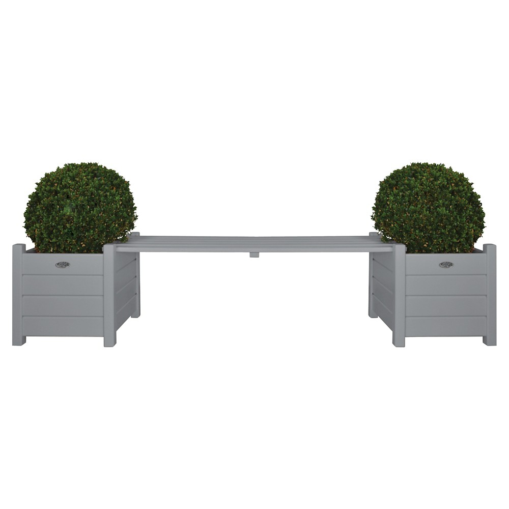 Esschert Design Planter with Bench - Gray