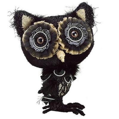"Allstate Floral 13"" Rustic Autumn Owl Halloween Decoration - Black"