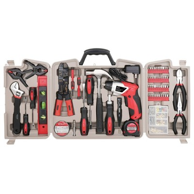Apollo Tools 161pc DT0739 Household Tool Kit with Rechargeable Lithium-Ion Cordless Screwdriver