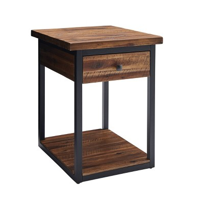 Claremont Rustic Wood End Table with Drawer and Low Shelf Dark Brown - Alaterre Furniture