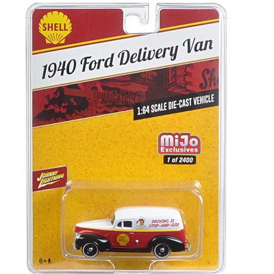 """1940 Ford Delivery Van """"Shell"""" 1/64 Diecast Model Car by Johnny Lightning"""