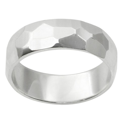 Women's Journee Collection Hammered Finish Band in Sterling Silver - Silver - image 1 of 2