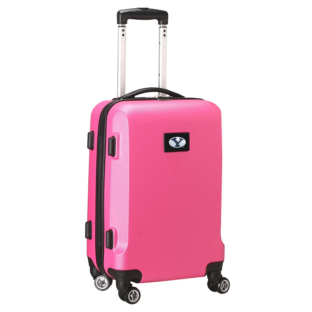 NCAA Byu Cougars Pink Hardcase Spinner Carry On Suitcase