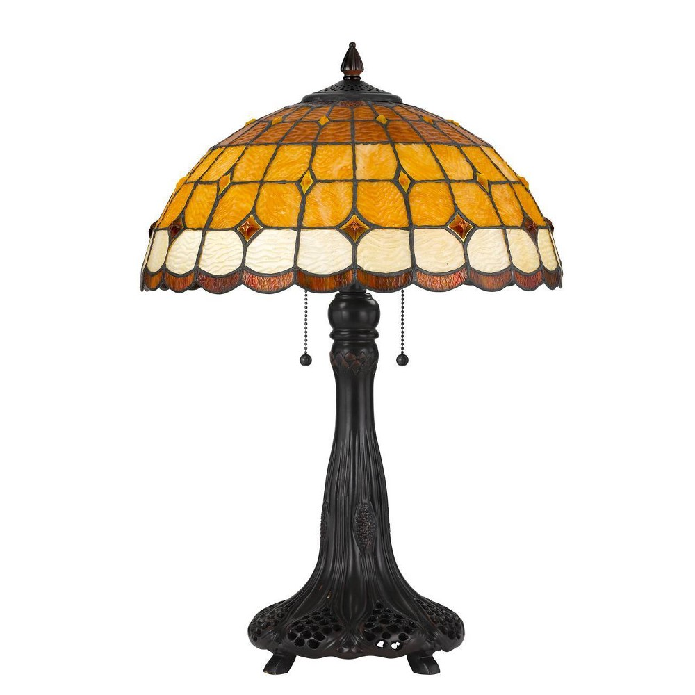 """Compare 24.5"""" Tiffany Resin Mission Design Table Lamp with Hand Cut Glass Shade Dark Bronze - Cal Lighting"""